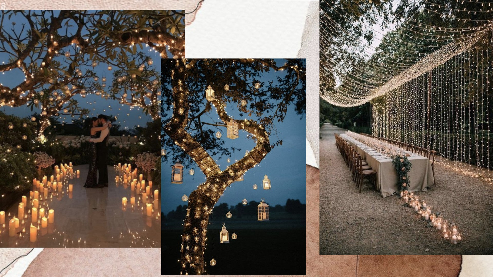 Fairy lights for your outdoor wedding decorations