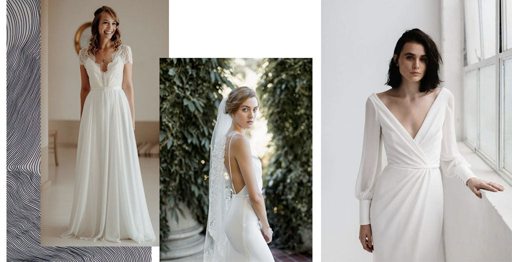 Pared down gowns