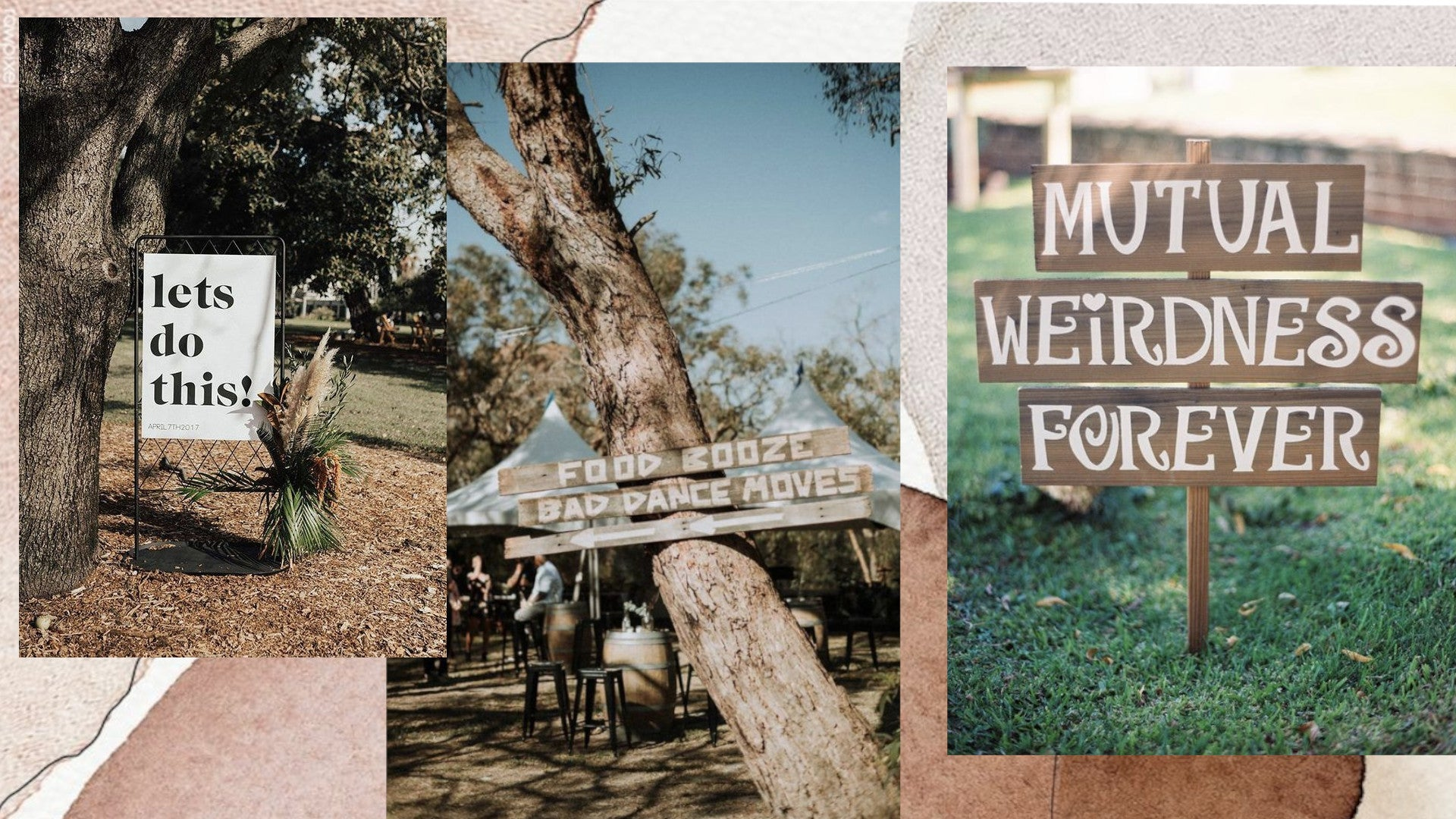 Make your own signage for your outdoor wedding decorations