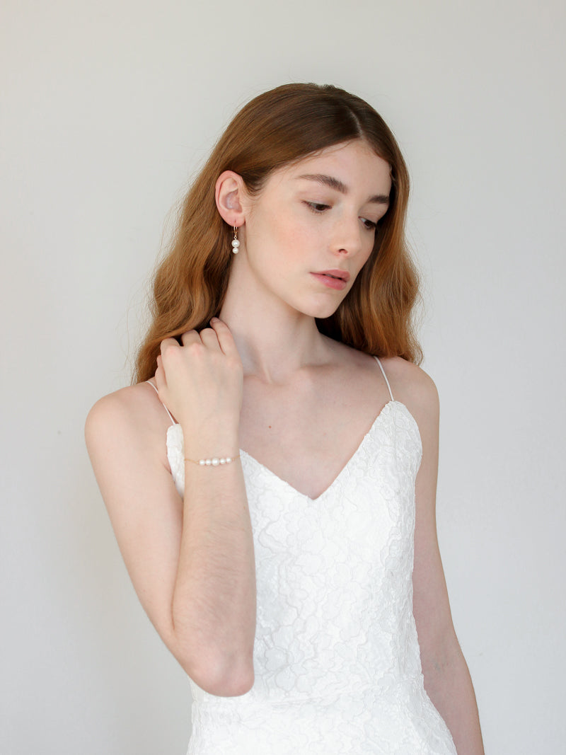 Bride in Adara Bracelet, Iridescent Pearl Bracelet on 14k rose gold filled chain