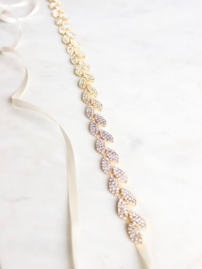 GILDED IVY SASH, Bridal Accessories - Davie & Chiyo, Vancouver