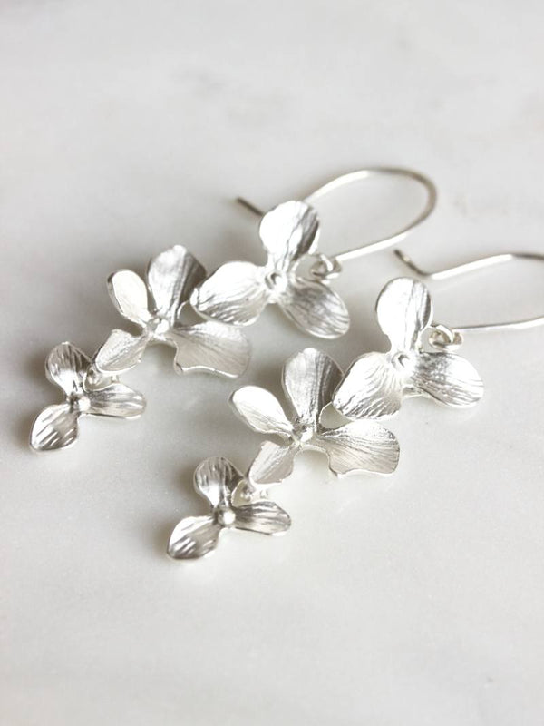 GILDED ORCHID EARRINGS, Bridal Accessories - Davie & Chiyo, Vancouver