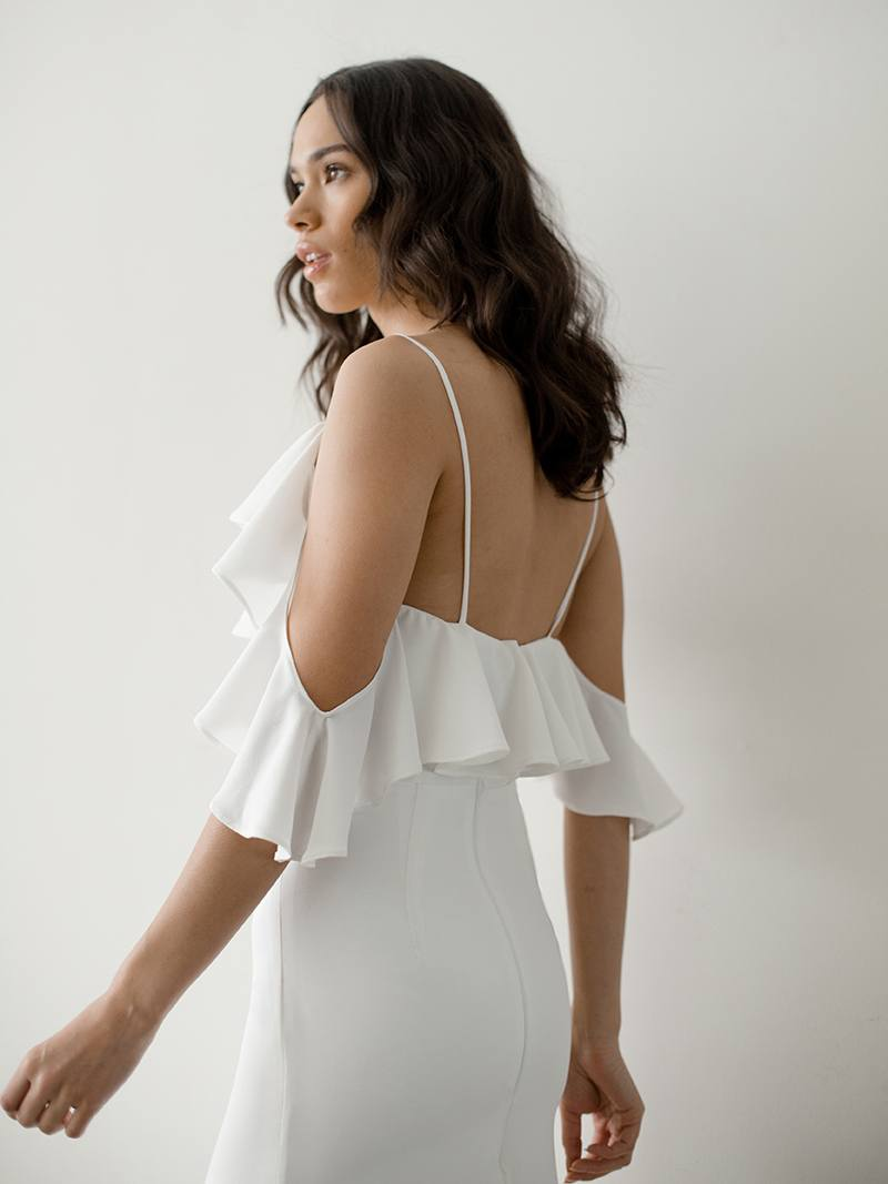 Boho wedding dress made of crepe de chine, luxurious crepe hugs through the hips for a decidely sexy silhouette, back view of Lotta by Davie and Chiyo