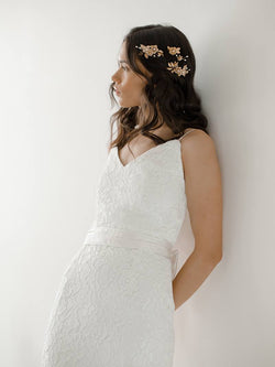 davie and Chiyo Model in simple elegant wedding dress, vintage-inspired lace wedding gown