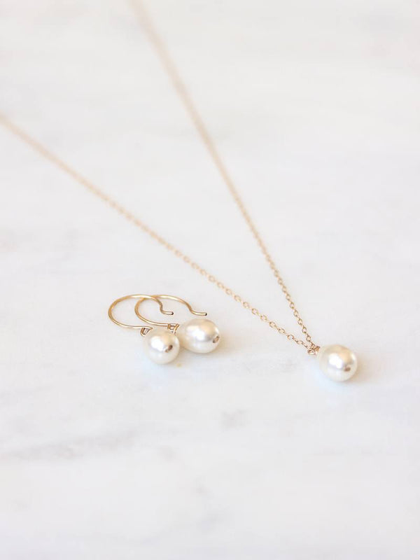 MOONDROP EARRING & NECKLACE SET, Bridal Accessories - Davie & Chiyo, Vancouver