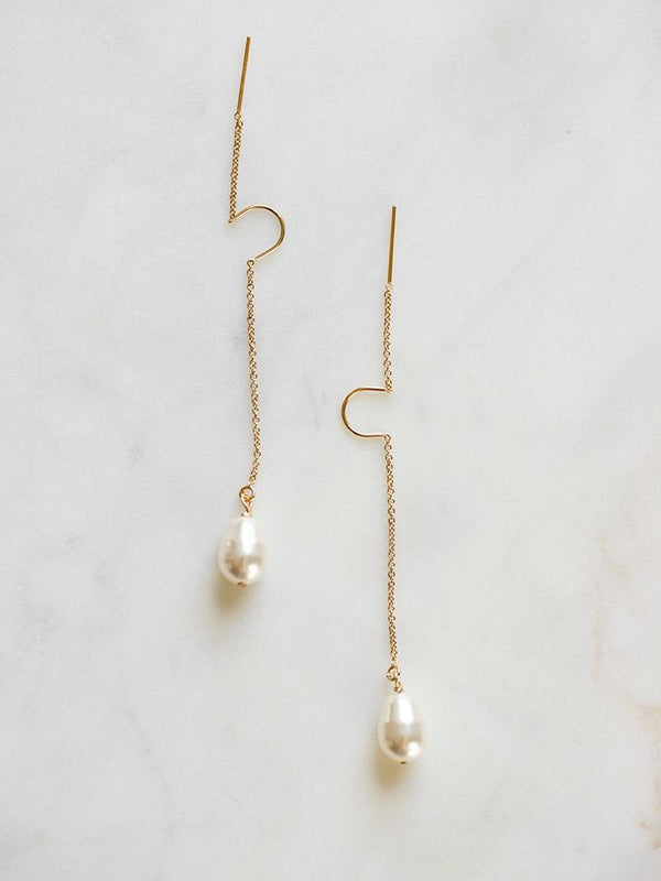 MOONDROP THREADER EARRINGS, Bridal Accessories - Davie & Chiyo, Vancouver