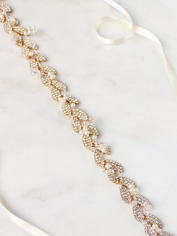 GILDED AVA SASH, Bridal Accessories - Davie & Chiyo, Vancouver