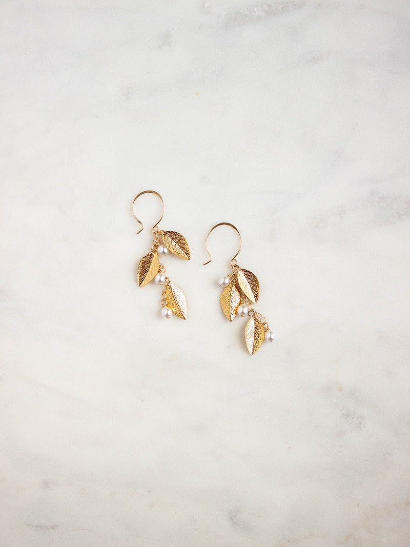 Elegant gold floral earrings, Adelia Earrings by Davie & Chiyo