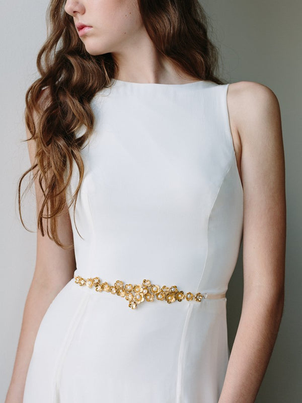 Model in bridal gown wearing Gold Cluster Flower Bridal Sash, Bridal Accessories - Davie & Chiyo, Vancouver