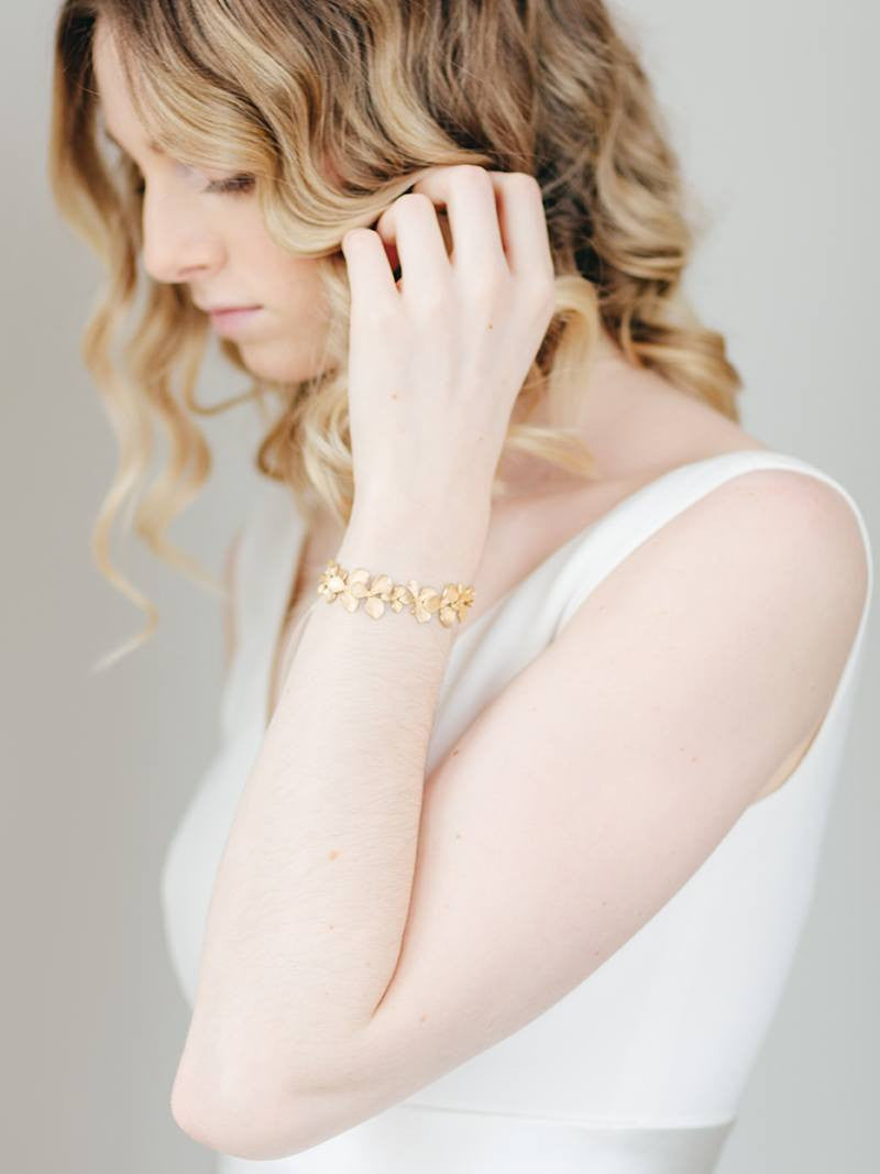 GILDED ORCHID CUFF, Bridal Accessories - Davie & Chiyo, Vancouver