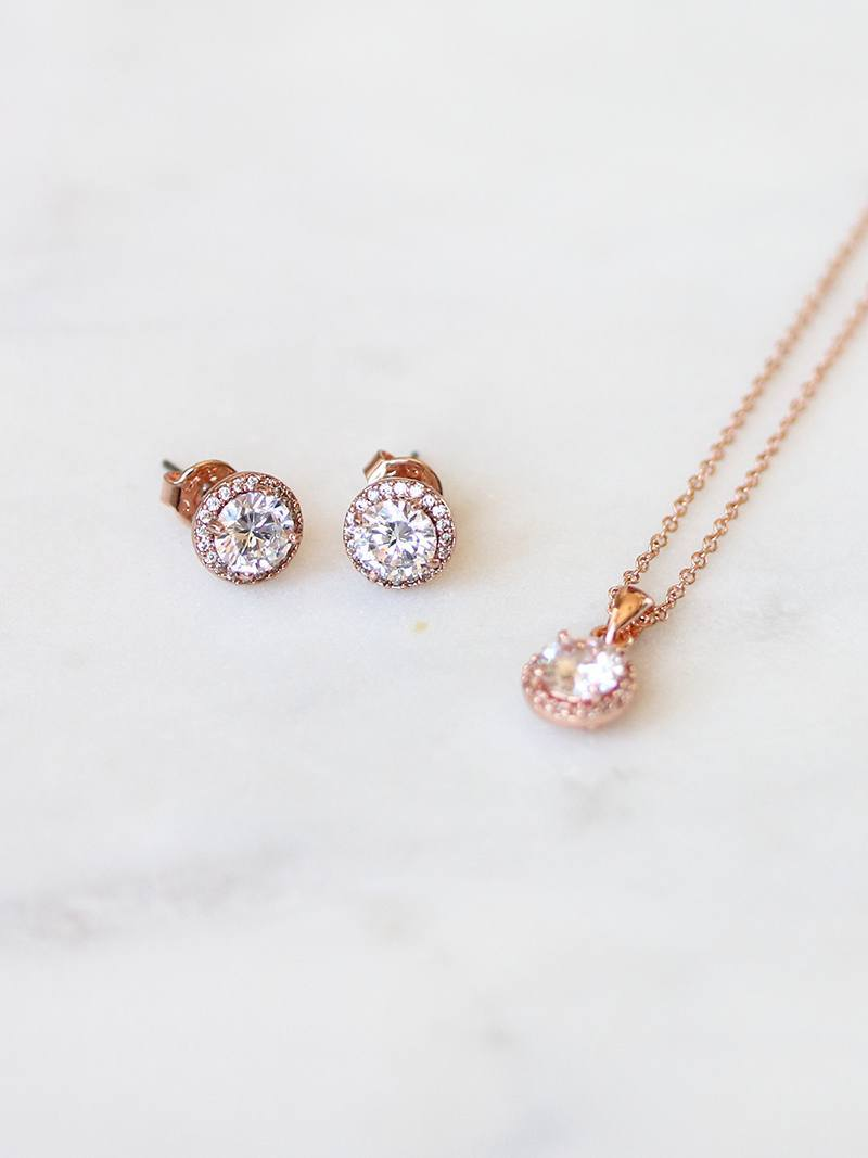 MIA EARRING & NECKLACE SET, Bridal Accessories - Davie & Chiyo, Vancouver