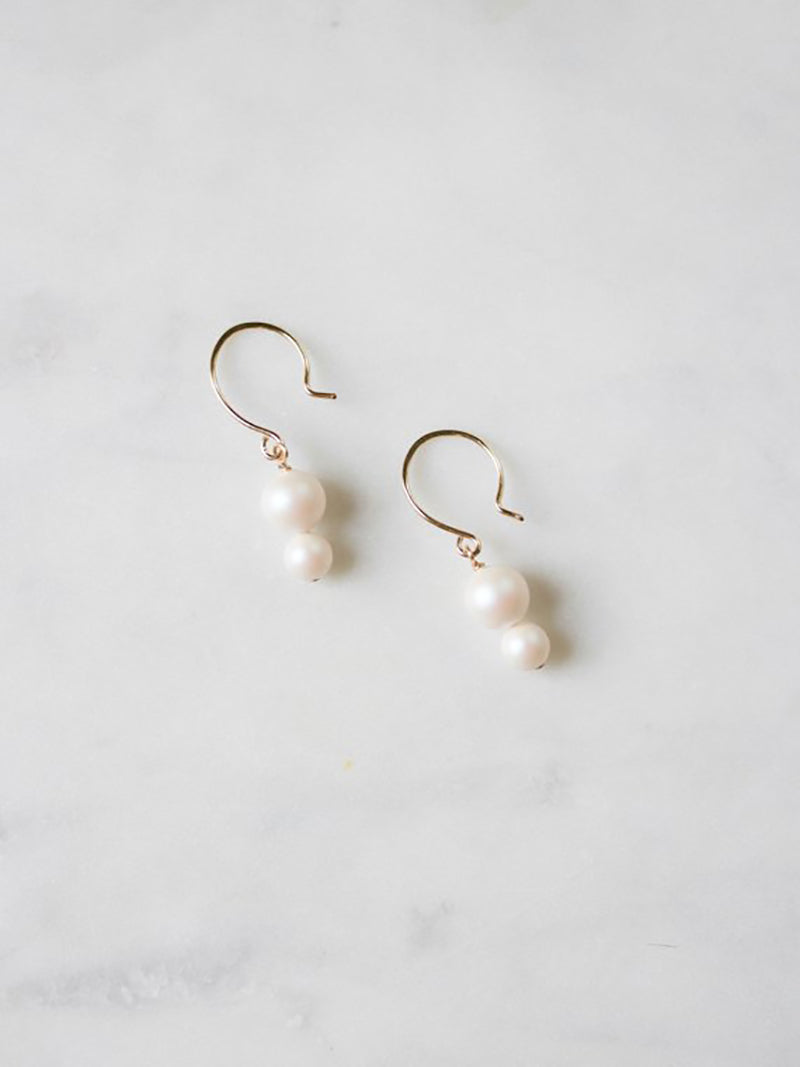 Iridescent Pearl Bracelet on 14k rose gold filled earrings hoops, bridal accessories made by Davie and Chiyo
