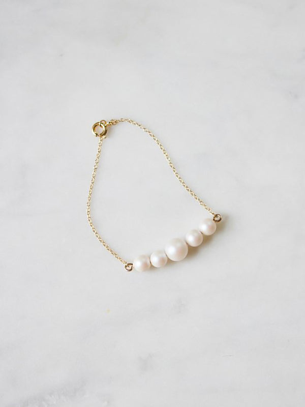 Iridescent Pearl Bracelet on 14k rose gold filled chain, bridal accessories made by Davie and Chiyo