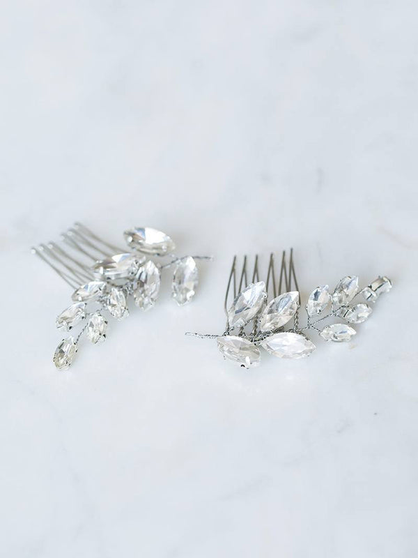 Silver leaf bridal comb set, rhinestone leaves with silver hair combs