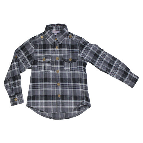 Charcoal Flannel Casual Shirt