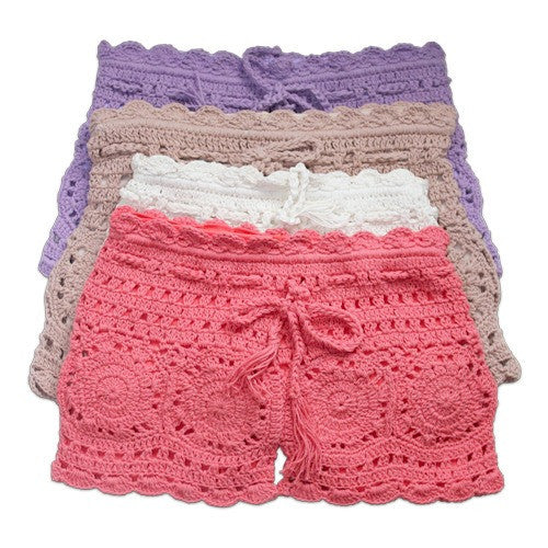 Dusty Rose Crochet Shorts
