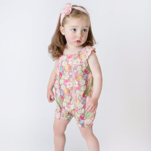 Buy baby rompers in a set of two versions - one in red with a single bunny print, and another in white with multiple bunny prints. Pick up pretty floral-print rompers for baby girls online Baby rompers with appliqué details have a very classy look.