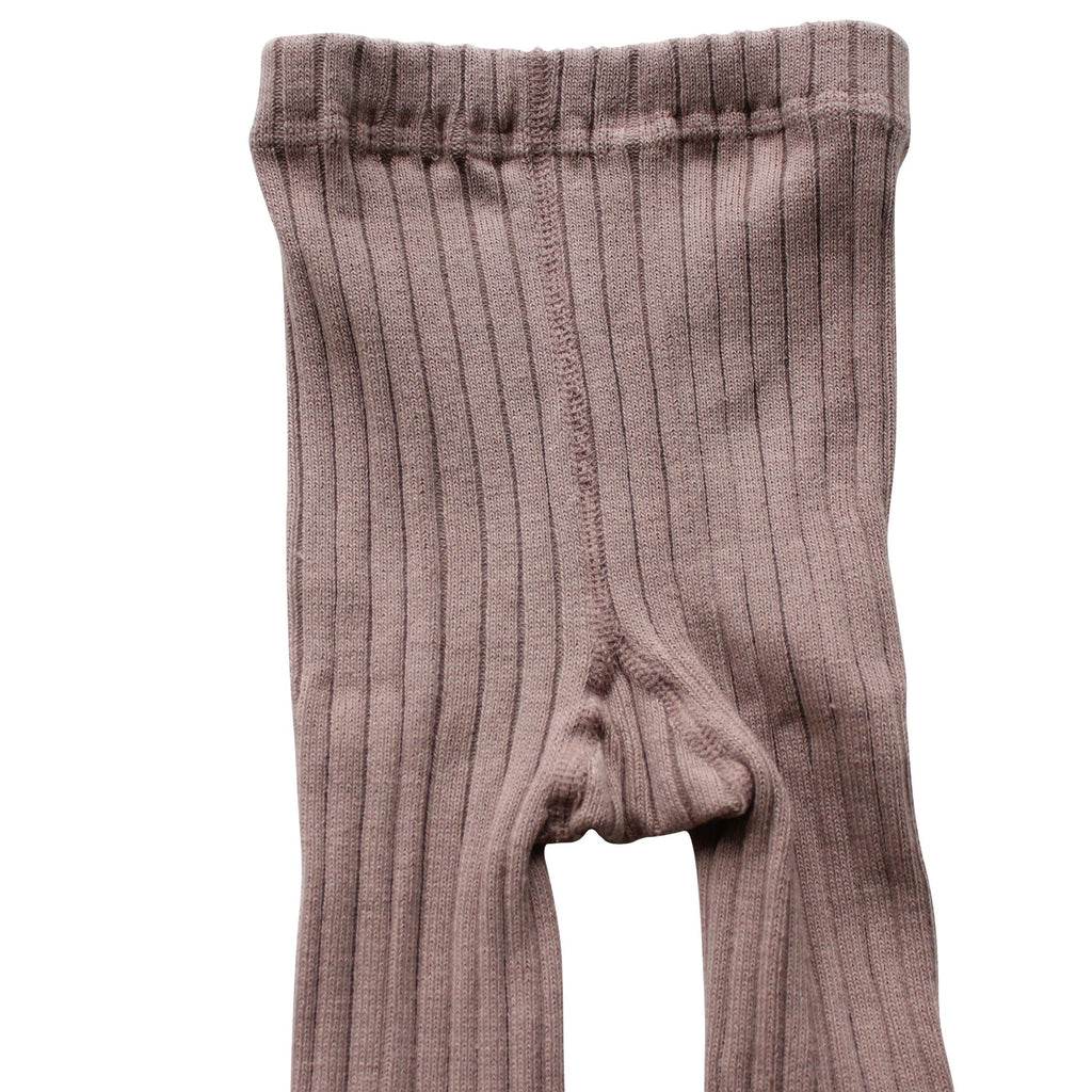 Dusty Rose Winter Footless Ribbed Knit Tights