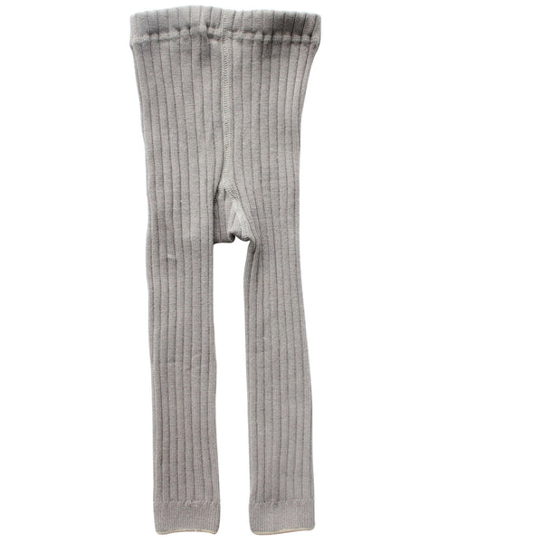 Grey Winter Footless Ribbed Knit Tights