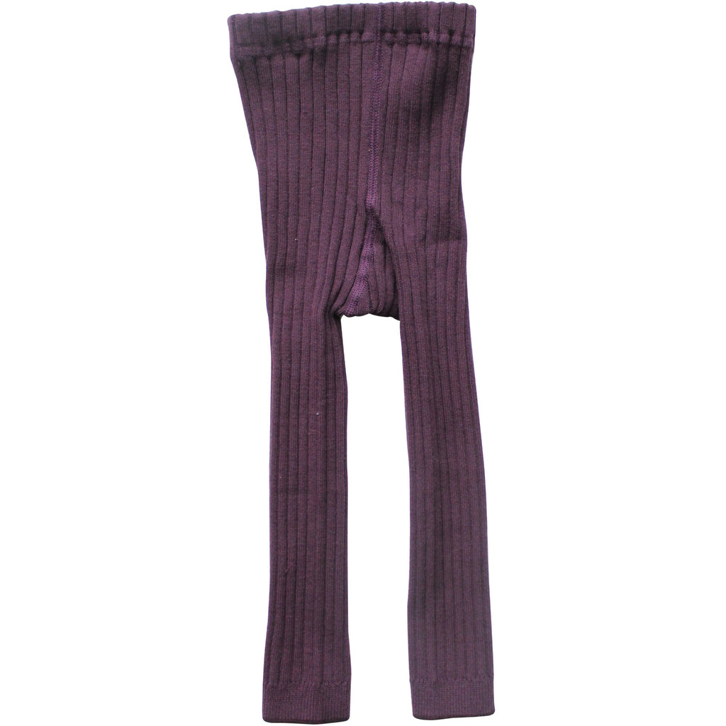 Plum Winter Footless Ribbed Knit Tights