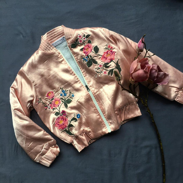 Champagne Silk Bomber Jacket