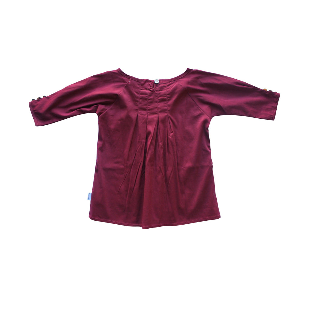Wine Pleat Roundneck