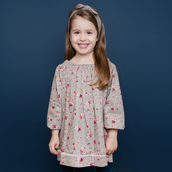 Woodland Petal Smocking Neck Top