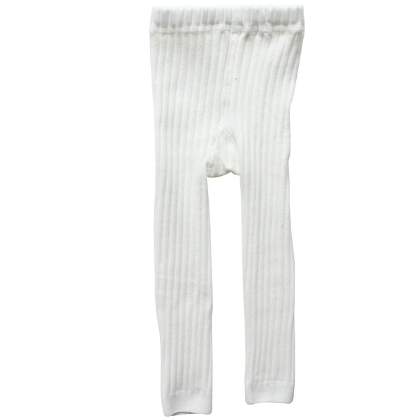 White Winter Footless Ribbed Knit Tights
