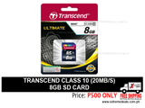Transcend 8gb SD Card Class 10 20mbps
