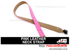 Pink Leather Camera Neck Strap