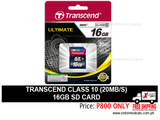 Transcend 16gb SD Card Class 10 20mbps