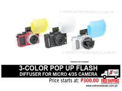 JJC 3-Color Popup Flash Diffuser for Micro 4/3