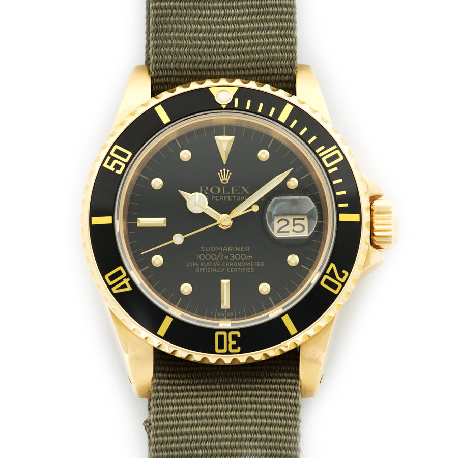 Vintage Rolex Yellow Gold Submariner Ref. 16808