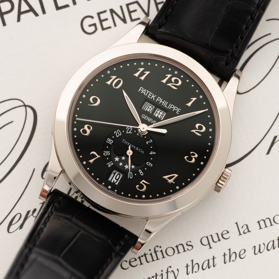 Patek Philippe White Gold Annual Calendar Tiffany & Co. Watch Ref. 5396