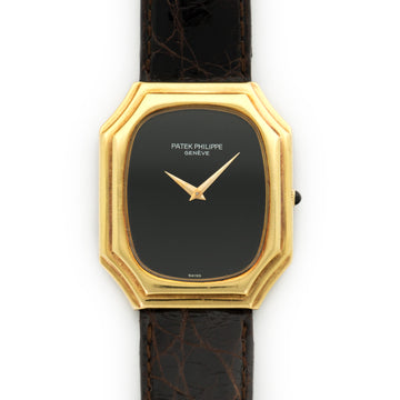 Patek Philippe Yellow Gold Onyx Dial Strap Watch Ref. 3729