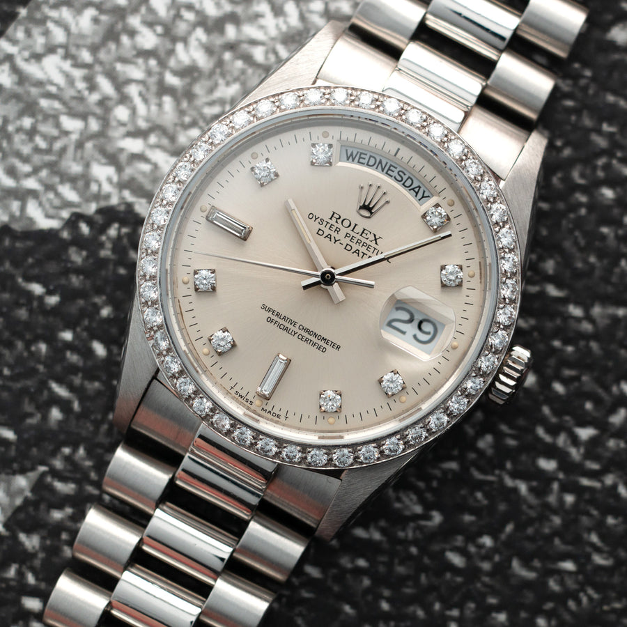 Rolex Platinum Day-Date Ref 18046 with Diamond Bezel and Diamond Dial