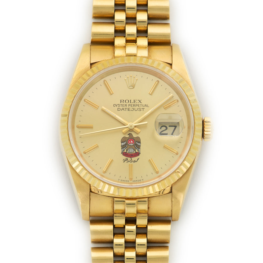 Rolex Yellow Gold Datejust UAE Coat of Arms Watch Ref. 16238
