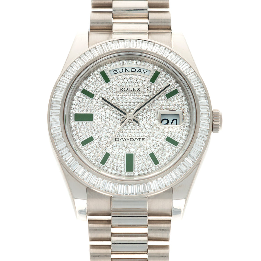 Rolex White Gold Day-Date Baguette Diamond Watch Ref. 218399