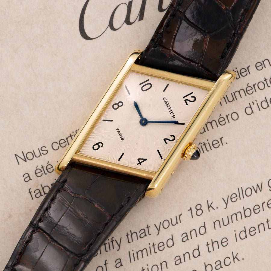 Cartier Yellow Gold Asymmetrical Tank Watch, with Original Box and Certificate