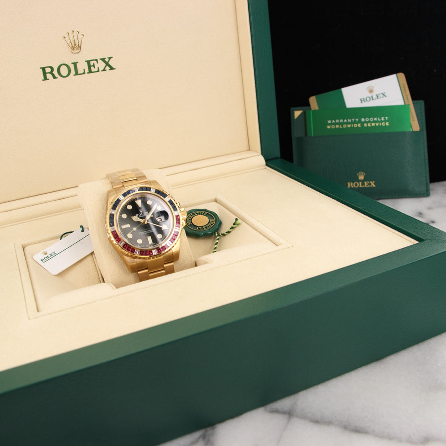 Rolex Yellow Gold GMT-Master II Sapphire Ruby Watch Ref. 116748 in Unworn Condition