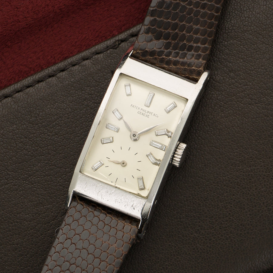 Vintage Patek Philippe Platinum Rectangular Diamond Watch Ref. 425