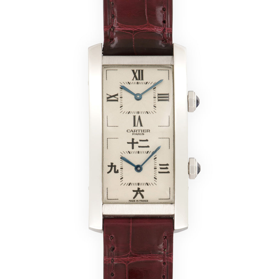 Cartier White Gold Tank Cintree Dual Time Watch with Chinese Characters