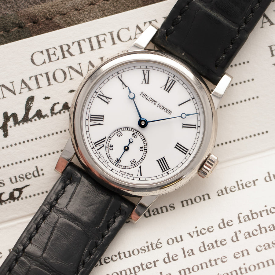 Philippe Dufour White Gold Simplicity Watch, with Original Box and Papers