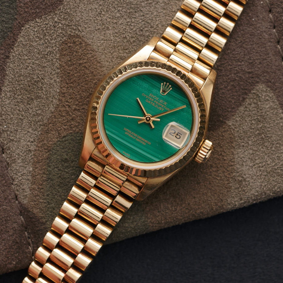 Rolex Yellow Gold Datejust Malachite Dial Watch Ref. 69178