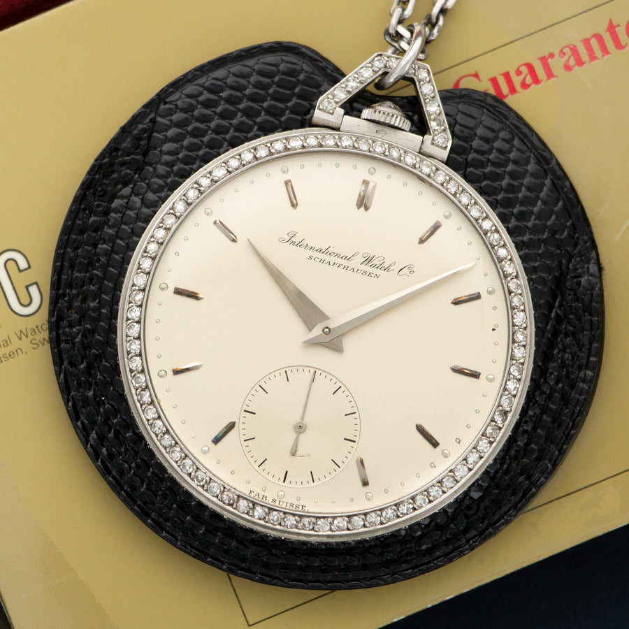 IWC Platinum Diamond Pocket Watch with Original Box and Papers