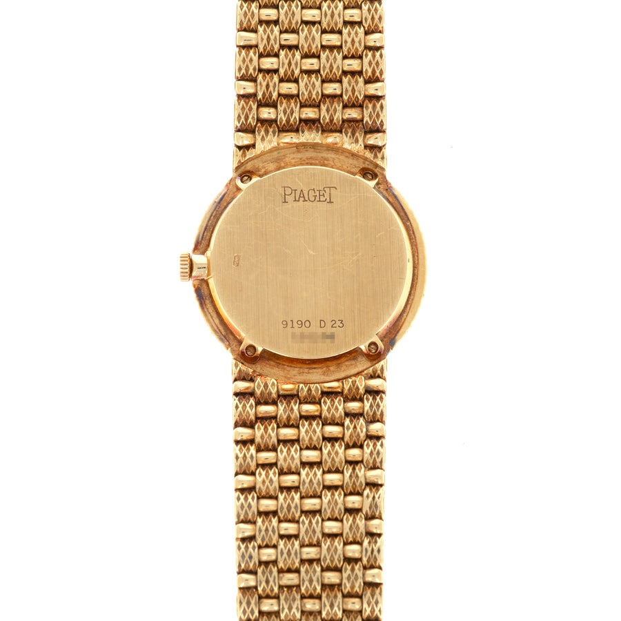 Piaget Yellow Gold Watch with Diamond Bezel and Opal, Diamond and Ruby Dial