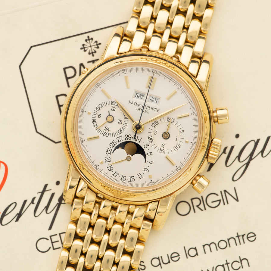 Patek Philippe Yellow Gold 2nd Series Perpetual Calendar Chrono Watch Ref. 3970