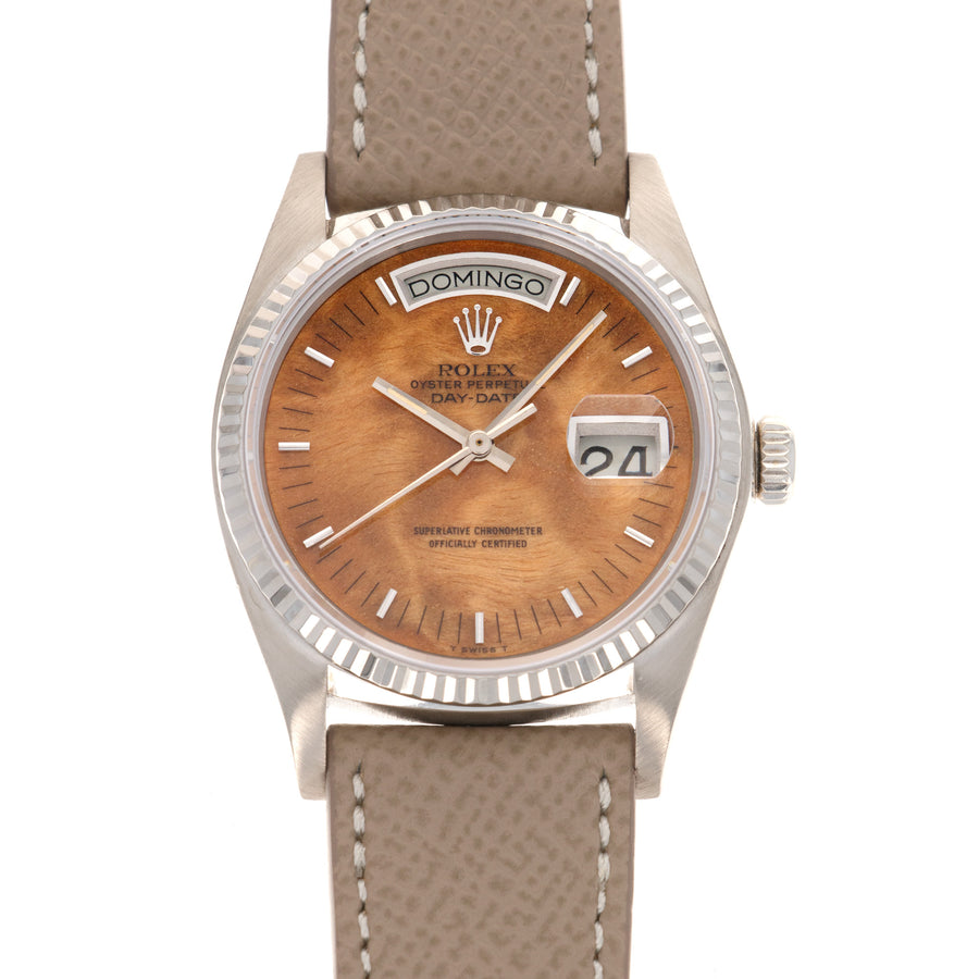 Rolex White Gold Day-Date Wood Dial Watch Ref. 18039