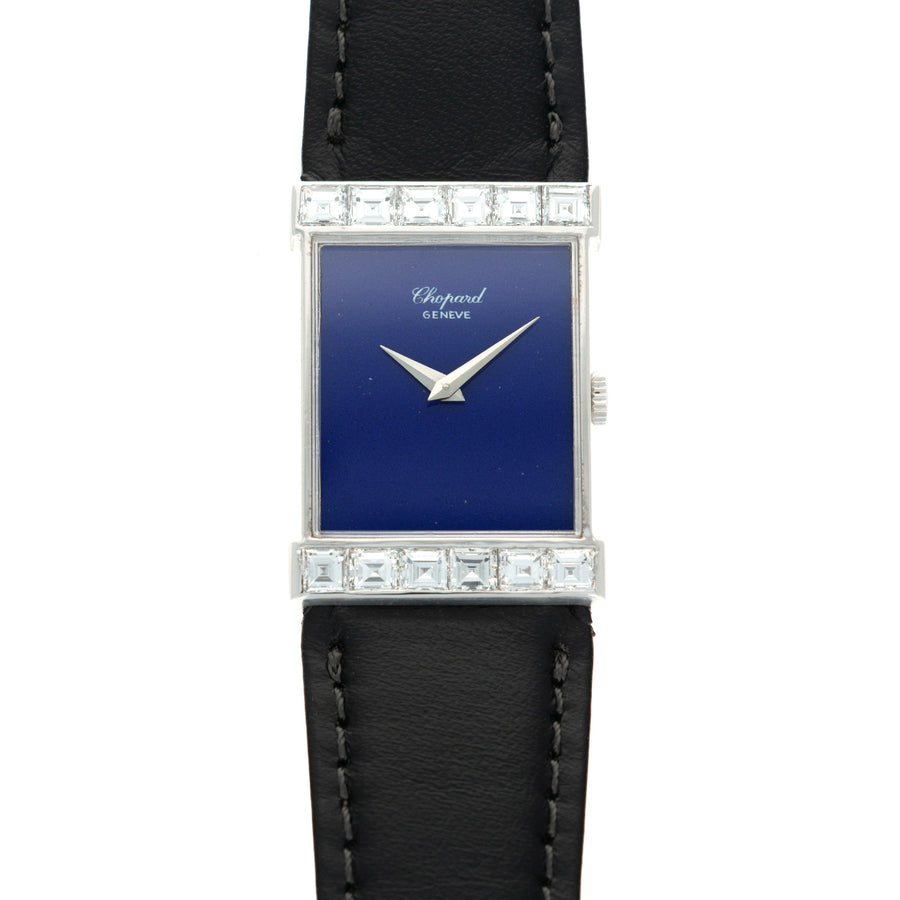 Chopard White Gold Watch with Lapis Dial with Emerald Diamonds