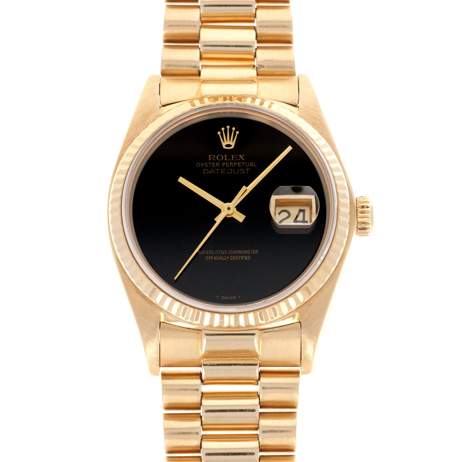 Rolex Yellow Gold Datejust Onyx Dial Watch, Ref. 16018